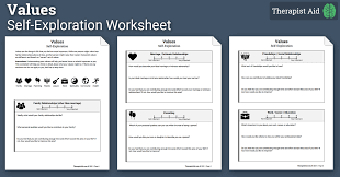 values self exploration worksheet therapist aid