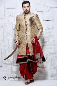 gold u0026 red dhoti style indian wedding sherwani in banarasi silk