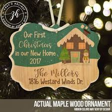 wood ornament new home with snowman personalized