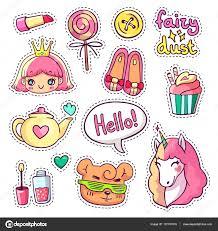 imagenes de animales y cosas insignias de parche de vector colorido con animales personajes y