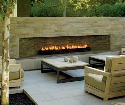 fire escape patio contemporary with stone fireplace surround