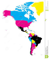 Map Americas by Political Map Of Americas In Cmyk Colors On White Background
