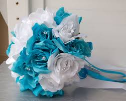wedding flowers ebay 19pc turquoise and white wedding bouquet package artificial