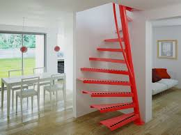 red steel spiral staircase u2014 railing stairs and kitchen design