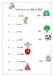 english worksheet usage of the demonstratives this and that