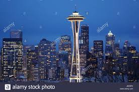 seattle city light address seattle city lights at night the skyline with space needle stock