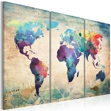 World Map Canvas Art by Ilovedecor 3 Panel Vintage World Map Canvas Oil Painting