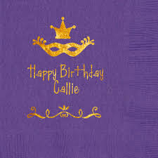 personalized mardi gras personalized mardi gras paper napkins bright purple