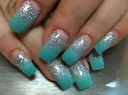 teal with silver acrylic nail design summer 2012 orange tree
