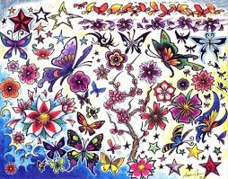 colorful butterfly purple petals flowers designs