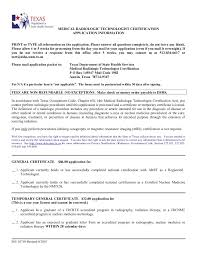Sample Resume For Radiologic Technologist by F65 10710 Mrt License Application Packet