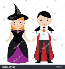 cartoon witch vampire characters boy stock vector 485020012