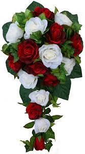 Cascade Bouquet Amazon Com Red And Ivory Silk Rose Cascade Bridal Wedding