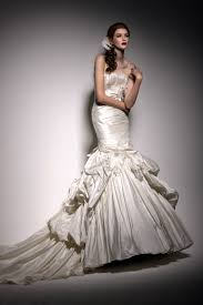 martini mermaid ivory silk mermaid wedding dress with full skirt and strapless