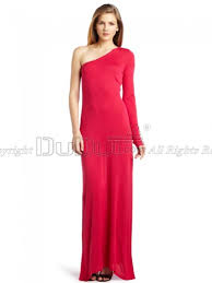 column silk like one shoulder empire long sleeve floor length