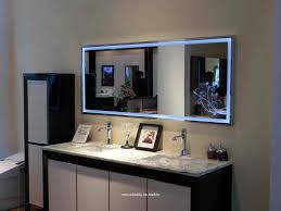 bathroom mirror with lights built in cornered shower place and