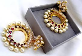 gold plated earrings kumar jewels designer kundan pearl droplets gold plated