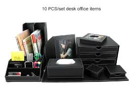 Promotional Desk Accessories 10pcs Set Wood Leather Desk File Stationery Accessories Storage