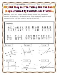 lines angles formed by parallel lines thanksgiving riddle worksheet
