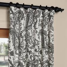 108 In Blackout Curtains by Edina Grey 108 In X 50 In Printed Cotton Curtain Panel Half