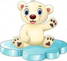 imagenes animadas oso dibujos animados bebé de oso polar sentado en témpano vector de