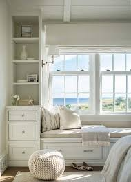 Cushions For Window Bench A White Built In Window Bench Is Placed In A Recessed Niche Of A