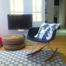 Living Room Rocking Chairs Eames Style Rar Molded Black Plastic Rocking Chair With Steel