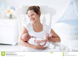 Mother S Rocking Chair Mother And Newborn Baby In White Nursery Stock Photo Image 61195650