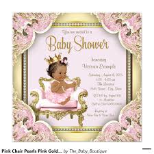 Baby Shower Card Invitations Pink Chair Pearls Pink Gold Ethnic Baby Shower Invitation Baby