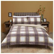 Brushed Cotton Duvet Covers Buy Tesco Checked Brushed Cotton Duvet Cover And Pillowcase Set