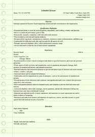 security guard resume example for microsoft word doc
