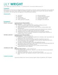 resume ideas for customer service jobs exle for resume free exles by industry job title livecareer