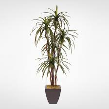 6 silk yucca tree with wood trunks in a metal pot 97