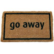 funny doormat entryways go away black 17 in x 28 in non slip coir door mat