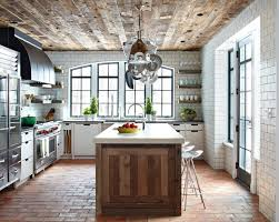 Brick Floor Kitchen by Kitchen Brick Floor Reclaimed Wood Ceiling Subway Tile Wall