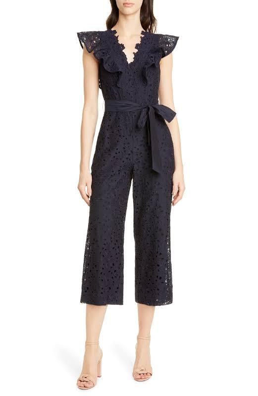 Rebecca Taylor Clover Silk-Blend Jumpsuit, 6, Blue