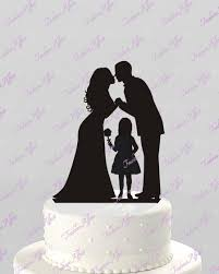 family cake toppers wedding cake topper silhouette groom and with flower girl