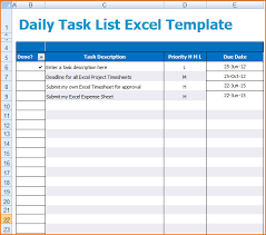 Todo List Template Excel Daily Task List Template Daily Task List Excel Template Png