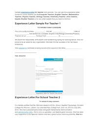 Examples Of Letters Of Recommendation For Teachers Sample Experience Certificate Format For Teacher Teachers