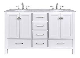 stufurhome gm 6412 60pw cr 60 inch malibu pure white double sink