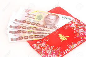 new years envelopes thai money in envelope on white background new year