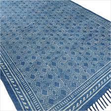 Flat Weave Cotton Area Rugs Indigo Blue Cotton Block Print Area Accent Dhurrie Rug Woven