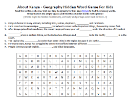 image of kenya worksheet free geography words game to print