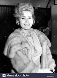 portrait of zsa zsa gabor in a fur coat stock photo royalty free