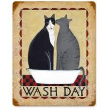 wash day cat tub rustic metal pet sign vintage bathroom decor