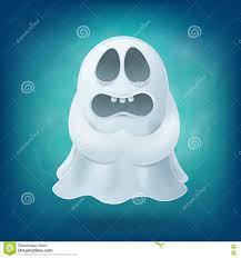 upset cartoon ghost on blue background halloween party design