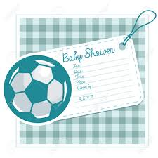 baby shower invitation card with soccer ball royalty free cliparts