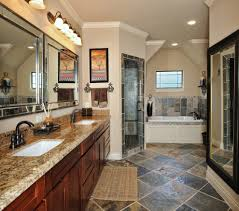 blooming slate tile bathroom eclectic with black and white sunken