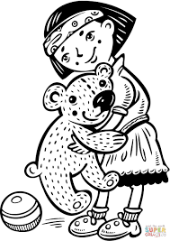 holding her big teddy bear coloring page free printable