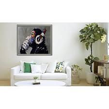 Decorative Paintings For Home Hand Painted Modern Abstract Oil Painting Orangutan Listening To